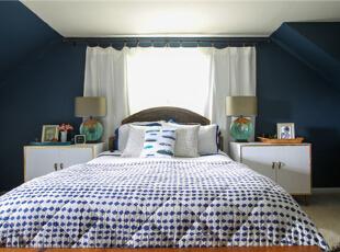 ,184平,15万,简约,别墅,卧室,深蓝色,白色,