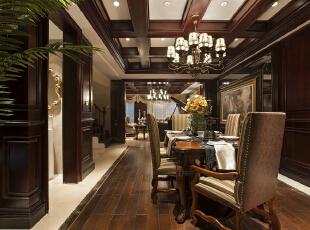 ,268平,24万,新古典,别墅,餐厅,棕色,原木色,
