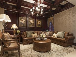 ,268平,24万,新古典,别墅,客厅,棕色,白色,
