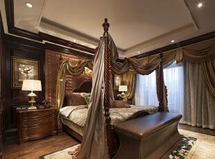 ,268平,24万,新古典,别墅,卧室,棕色,褐色,白色,