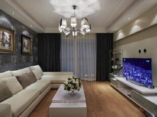 ,140平,12万,现代,三居,客厅,灰色,白色,