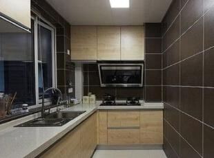 ,140平,12万,现代,三居,厨房,原木色,褐色,白色,