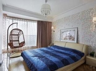 ,140平,12万,现代,三居,卧室,暖色,