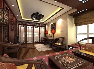 ,220平,12万,中式,四居,客厅,红木色,褐色,白色,