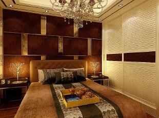 ,120平,7万,现代,三居,卧室,褐色,黄色,
