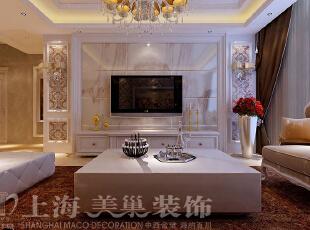 昌建誉峰120平三室两厅简欧装修电视背景墙样板间,120平,24万,小资,三居,客厅,黄白,
