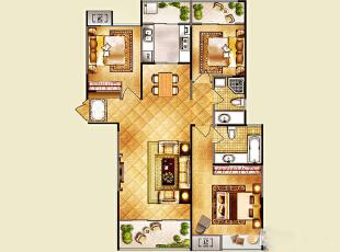 昌建誉峰120平三室两厅简欧装修样板间户型方案平面图,120平,24万,小资,三居,