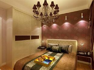 ,90平,4万,欧式,两居,卧室,黄白,棕红色,