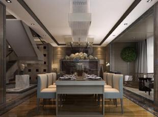 ,300平,20万,现代,别墅,餐厅,深棕色,