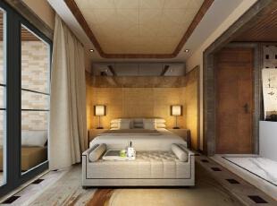 ,300平,20万,现代,别墅,卧室,棕色,黄白,