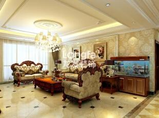 石家庄西美五洲天地260㎡户型欧式装修效果图案例,260平,30万,欧式,大户型,客厅,黄白,
