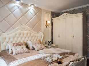 ,127平,5万,新古典,三居,卧室,暖色,白色,