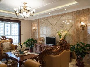 ,127平,5万,新古典,三居,客厅,浅棕色,白色,