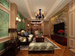 ,150平,25万,欧式,三居,客厅,暖色,绿色,白色,