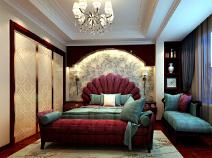 ,150平,25万,欧式,三居,卧室,红木色,黄白,