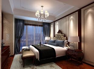 ,150平,25万,欧式,三居,卧室,暖色,红木色,白色,