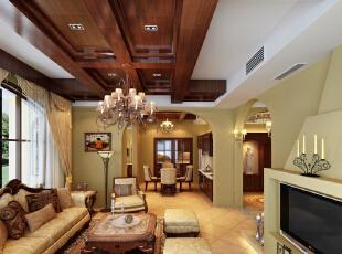 客厅:线条简洁的欧式沙发展现现代风格,高贵、典雅又不失浪漫气质,483平,25万,欧式,四居,客厅,原木色,黄白,