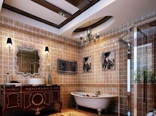 卫生间:欧式风格总是给人以富丽堂皇、雍容华贵的感觉,卫生间也不例外。虽然这个卫生间本身并不大,但是华丽的灯具、镜子、小饰品、再加上欧式的壁纸,整个卫生间自然而然就流露出一种西洋的调子。,483平,25万,欧式,四居,卫生间,淡黄色,白色,