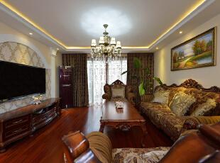 ,120平,30万,欧式,两居,客厅,原木色,黄白,