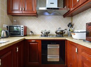 ,120平,30万,欧式,两居,厨房,原木色,白色,