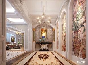 门厅,500平,300万,欧式,别墅,门厅,春色,白色,