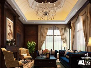 ,500平,220万,美式,别墅,客厅,原木色,黄白,