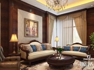 ,500平,220万,美式,别墅,客厅,原木色,白色,