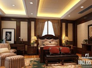 ,500平,220万,美式,别墅,卧室,原木色,黄色,