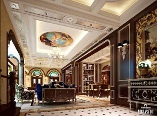 地下室休闲区,500平,300万,欧式,别墅,客厅,棕色,黄白,