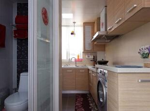,50平,4万,混搭,一居,厨房,原木色,白色,