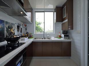 ,120平,18万,现代,三居,厨房,棕色,白色,
