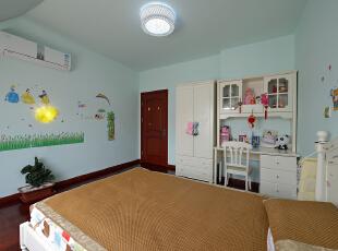 ,160平,38万,复式,现代,卧室,浅绿色,