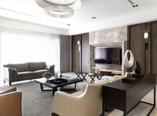 ,126平,11万,现代,三居,客厅,棕色,白色,