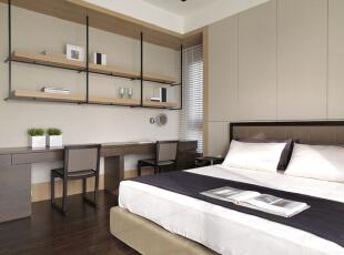 ,126平,11万,现代,三居,卧室,原木色,白色,