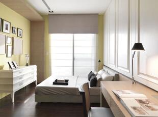 ,126平,11万,现代,三居,卧室,黄色,原木色,白色,