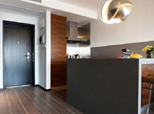 ,55平,5万,现代,小户型,厨房,原木色,黑白,
