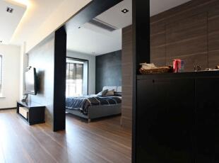 ,55平,5万,现代,小户型,卧室,黑白,
