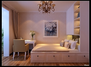 平阳景苑170平--四居室--卧室装修设计—简欧装修设计效果图,欧式,四居,卧室,儿童房,原木色,白色,