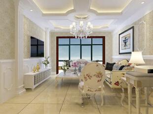 恒大绿洲130平--三居室--美式田园装修设计效果图--太原东唐装饰有限公司,130平,田园,三居,客厅,粉色,宜家,
