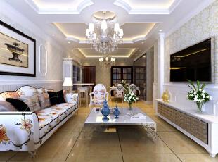 恒大绿洲130平--三居室--美式田园装修设计效果图--太原东唐装饰有限公司—客厅装修设计实景效果,130平,田园,三居,客厅,玄关,粉色,宜家,白色,现代,
