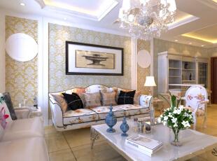 恒大绿洲130平--三居室--美式田园装修设计效果图--太原东唐装饰有限公司—客厅装修设计,田园,三居,客厅,粉色,宜家,白色,