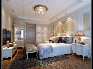 全屋墙面及顶面材质均为硅藻泥。,160.0平,38.0万,欧式,四居,卧室,白色,