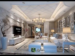 背景墙为大理石干挂,顶面为铝扣板复式吊顶。,160.0平,38.0万,欧式,四居,客厅,白色,
