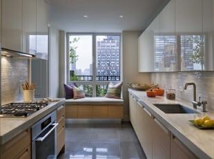 ,200平,40万,现代,三居,厨房,原木色,白色,