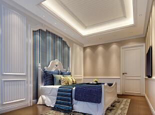 ,200平,70万,现代,一居,儿童房,卧室,白蓝,