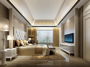 ,350平,105万,欧式,别墅,卧室,黄色,白色,