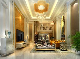 ,300平,200万,欧式,复式,客厅,黄色,白色,