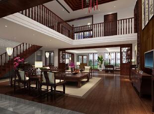 ,1000平,120万,中式,别墅,客厅,原木色,