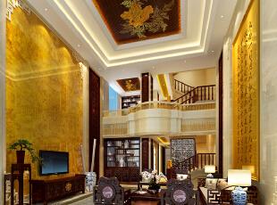 ,500平,150万,中式,别墅,客厅,黄白,