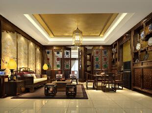 ,500平,150万,中式,别墅,书房,原木色,黄色,